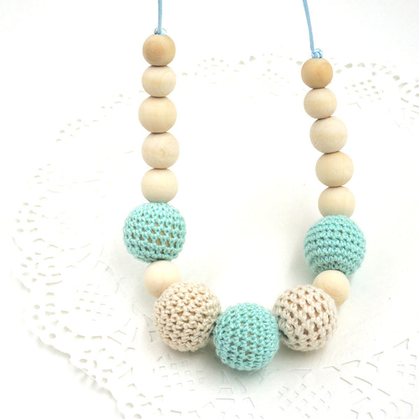 Stylish Wooden Teething Necklace with Crochet Beads (0 -1 y/o ; 1 - 2 y/o)