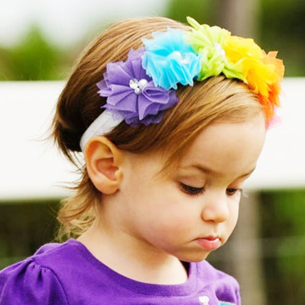 Rainbow Flower Head Band