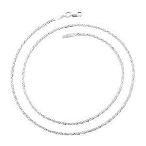 6300-16 | 1.3mm Silver Rope Chain Necklace 16""