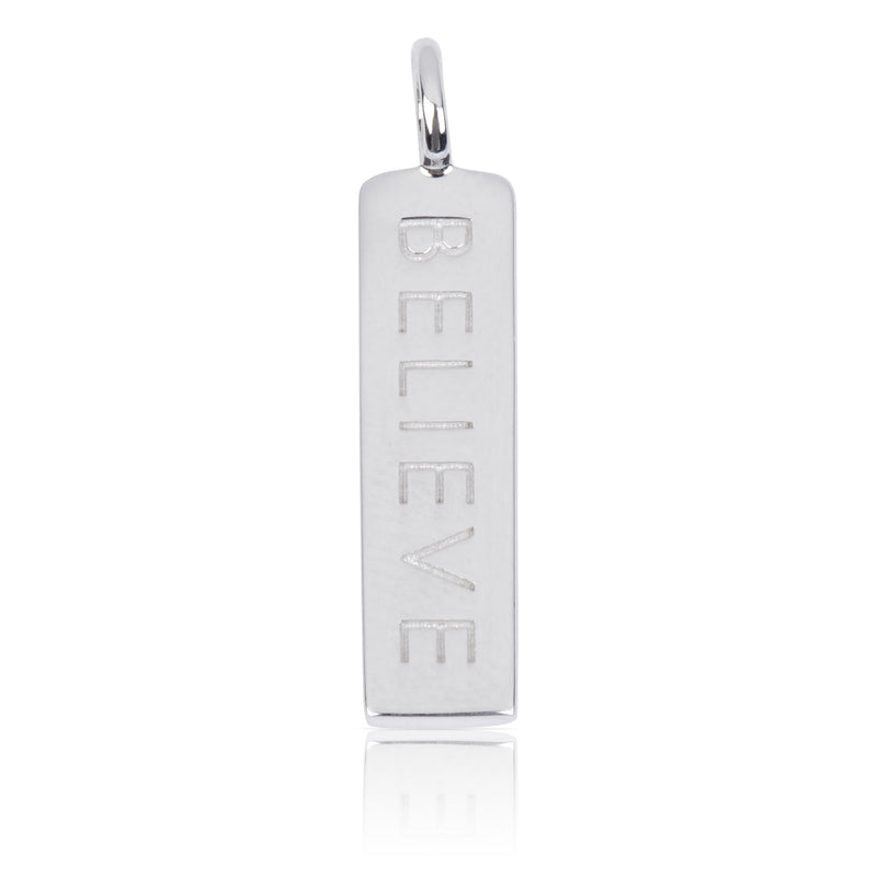 8WB-BELIEVE | Sterling Silver Pendant – Word Bar BELIEVE
