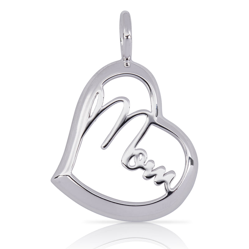 8001-MOM | Sterling Silver Pendant – Open Heart Mom Pendant