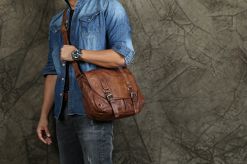 VINTAGE MESSENGER BAG ON SALE, FULL GRAIN LEATHER CROSSBODY BAG, CHIC BRIEFCASE FOR MEN NPJ48