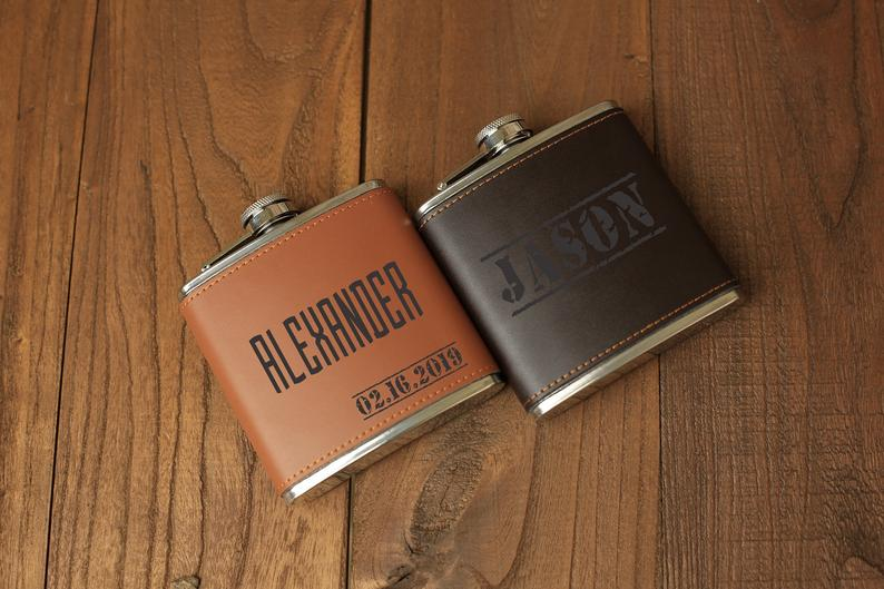 Groomsmen Gift Flask Set, Personalized Leather Groomsmen Gifts, Gift For Men, Mens Party Gift, Wedding Gift, Vintage Groomsman Proposal Gift