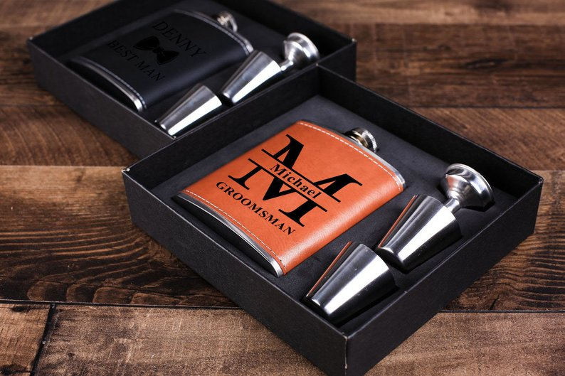 Groomsmen Gift, Groomsman Gift, Personalized Engraved Flask Set, Groomsman Proposal Gift, Best Man Gift, Wedding Gift, Bachelor Party Gift