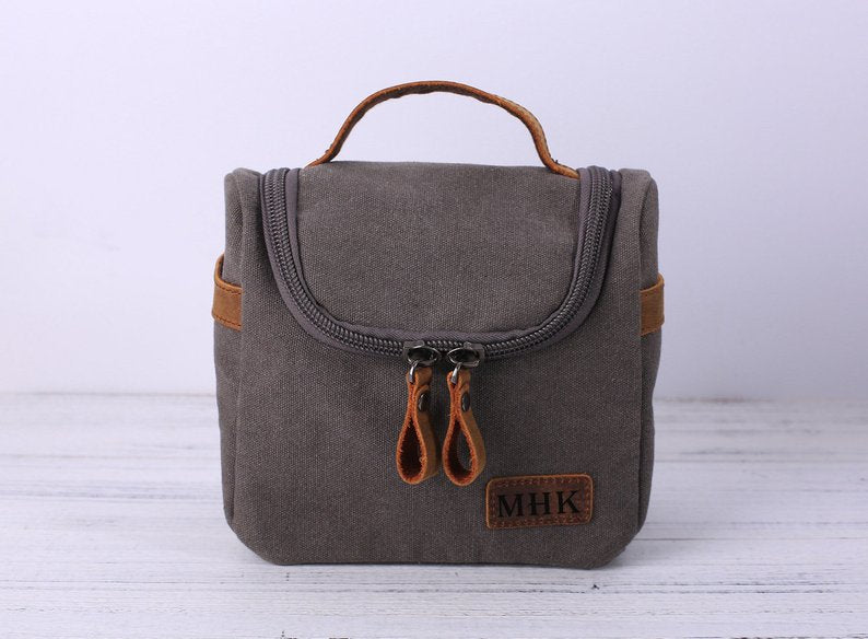 Groomsmen Gifts, Personalized Toiletry Bag, Dopp Kit, Leather Canvas with Flip Top Open, Best Man, Groomsman Gift, Wedding Gifts, Mens Gifts