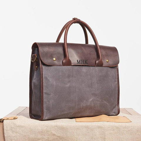 Waxed Canvas Leather Briefcase, Gift For Man, Father's Gift, Personalized Messenger Bag, Laptop Bag, Mens Business Courier Bag, Shoulder Bag