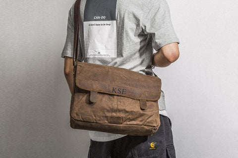 Waxed Canvas Messenger Bag, Personalized Crossbody Bag, Canvas Laptop Bag, Large Briefcase, Christmas Gift, Men's Travel Bag, Mens Satchel