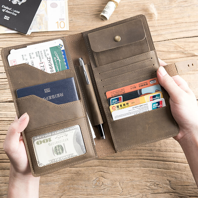buy popular 984c2 a82e3 10 Best Passport Holder, Crazy Horse Leather Open Horizontal Wallet,  Leather Wallet, Card Holder, Pen Holder