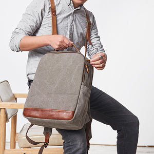 Canvas And Leather Backpack For Men, Cool Backpacks, School Backpack, Handbag UL032 - echopurse