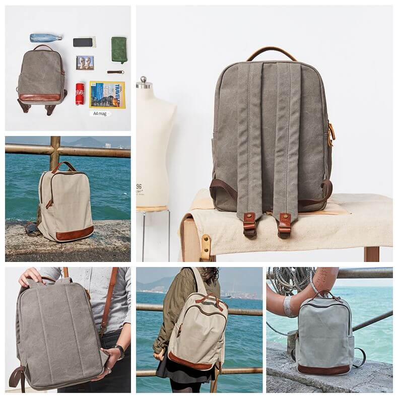 Canvas And Leather Backpack For Men Cool Backpacks School Backpack