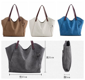 Canvas And Leather Shopper Bag, Gray Tote Bag 1205 - echopurse