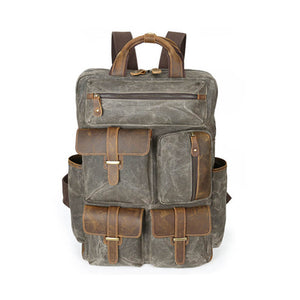 Canvas Backpack For Men, Vintage Large Capacity Shoulder Bag, Army Green Travel Bag CF57 - echopurse