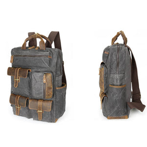 Canvas Backpack For Men, Vintage Large Capacity Shoulder Bag, Grey Travel Bag CF57 - echopurse