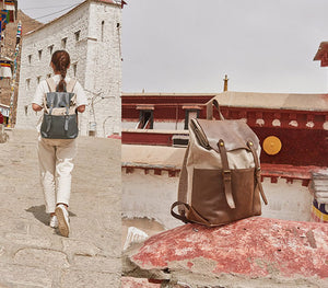 Canvas Backpack, Vintage Leather And Canvas Rucksack, Unisex School Backpack NX033 - echopurse