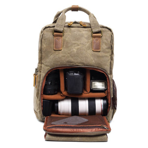 Waxed Canvas Camera Backpack, Photographer SLR Camera Bag, 15'' Laptop Backpack