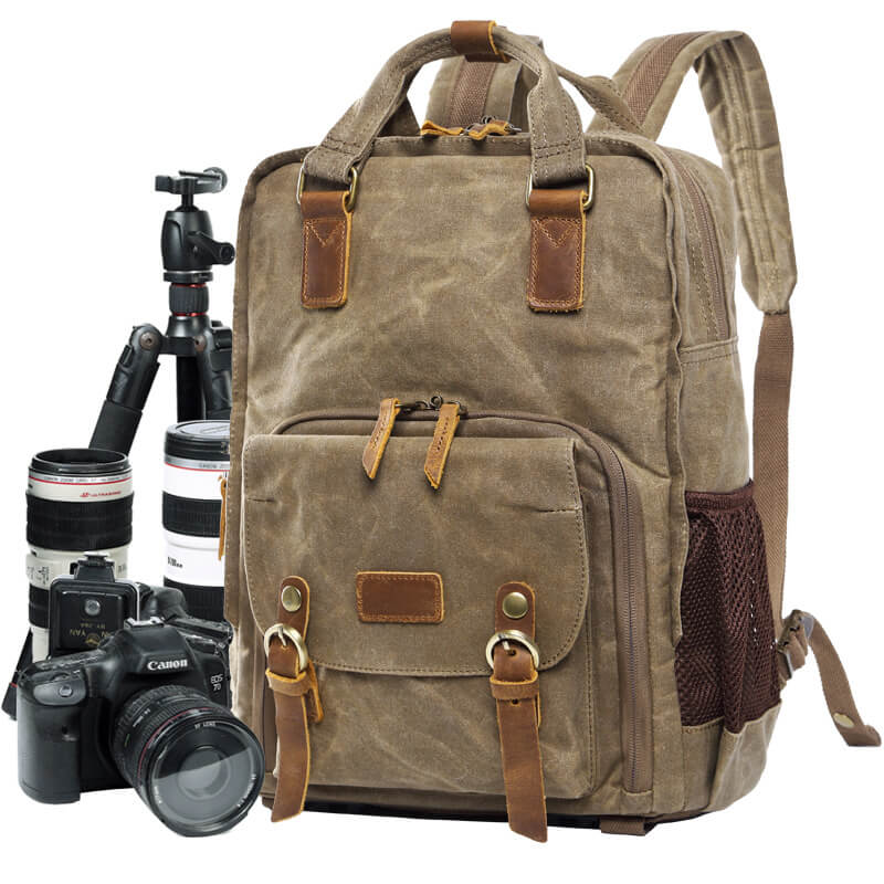 3cbeaa7d81d7 Waxed Canvas Camera Backpack
