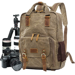 Waxed Canvas Camera Backpack, Photographer SLR Camera Bag, 15'' Laptop Backpack - echopurse