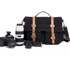 Canvas DSLR Camera Shoulder Bag Casual Camera Bag Men Messenger Bag Outdoor Satchel Bag - echopurse