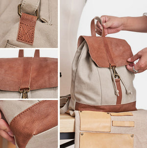 Handmade Leather Canvas Backpack, Shoulder Bag For Women, Men's Sports Rucksack NX042 - echopurse