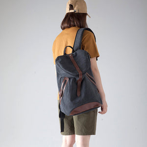 Black Canvas Shoulder Bag, Travel Backpack, Weekend Rucksack, Laptop Bag BDB688 - echopurse