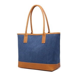 Canvas Tote Bags Women Shoulder Bag Canvas With Leather Shopping Bag Gifts For Women - echopurse