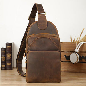 Crazy Horse Leather Chest Pack Vintage Shoulder Bag Men Messenger Bag Chest Bag - echopurse