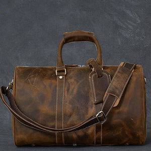 Crazy Horse Leather Duffle Bag Retro Weekender Bags Tote Overnight Bag Shoulder Travel Bags - echopurse