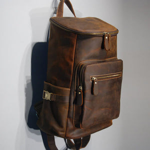 Crazy Horse Leather Knapsack, Vintage Brown Travel backpack, School Backpack For Men 1909 - echopurse