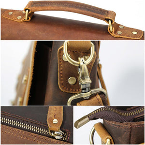 Crazy Horse Leather Men Briefcase Vintage Messenger Bag Tote Bag Men Satchel - echopurse