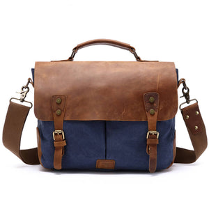 Crazy Horse Leather Messenger Bag, Canvas Travel Bag, Shoulder Bag, Laptop Bag 1807 - echopurse