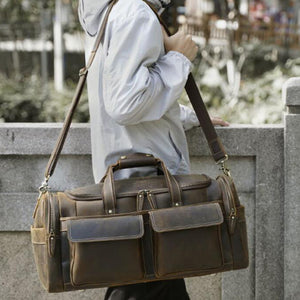 Crazy Horse Leather Travel Bag Retro Duffle Bag Men Overnight Bag Large Capacity Weekender Bag - echopurse