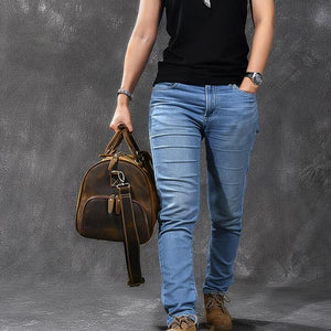 Crazy Horse Leather Travel Bags Vintage Men Duffle Bag Shoulder Messenger Bag Overnight Bag With Shoes Compartment - echopurse