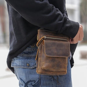 Crazy Horse Leather Waist Bag Retro Men Shoulder Messenger Bag  Small Belt Bag - echopurse