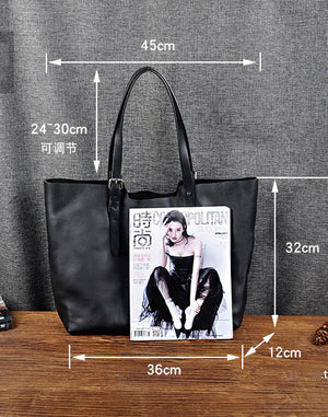 Custom Gift for Her, Wedding Gift for Women, Extra Large Black Leather Tote Bag, Handmade Shopper Bag - echopurse