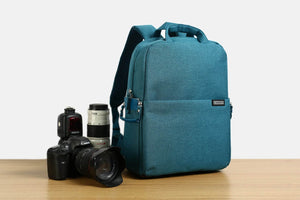 Canvas DSLR Camera Backpack, Blue Waterproof for Sony Canon Nikon Olympus B6302 - echopurse