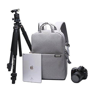 Fashion Style Canvas DSLR Camera Backpack Light Grey Rucksack Waterproof For Sony Canon Nikon Olympus B6302 - echopurse