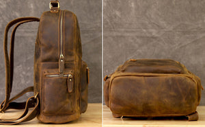 Full Grain Leather Backpack, Travel backpack, School Knapsack 1908 - echopurse