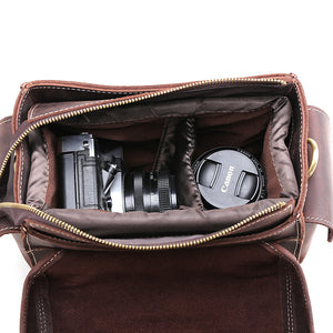 Full Grain Leather Camera Bag Men DSLR Camera Bag Shoulder Messenger Bag - echopurse
