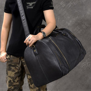 Full Grain Leather Duffle Bag Large Travel Bags Men Tote Weekender Bag Shoulder Duffel Bags - echopurse