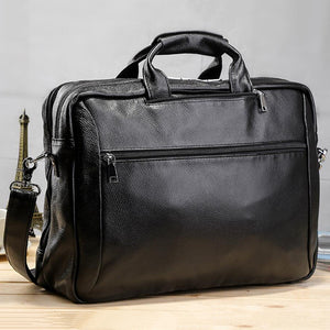 Full Grain Leather Men Briefcase Multifunctional Backpack Large Capacity Laptop Bag - echopurse