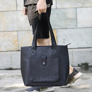 Full Grain Leather Tote Bag Stylish Briefcase Large Capacity Men's Shoulder Bag - echopurse