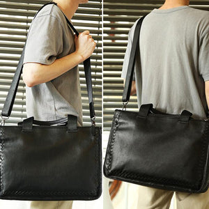 Full Grain Leather Weaving Briefcase Large Capacity Handbag Men Business Laptop Bag Shoulder Bags - echopurse