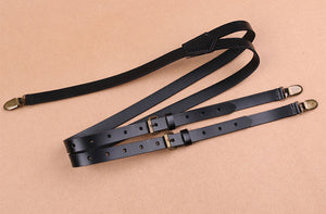 Yellow Brown Groomsmen Wedding Suspenders, Genuine Leather Suspenders, Accessories 0191 - echopurse