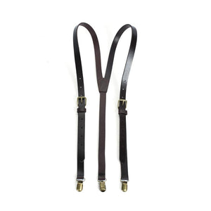 Reddish Brown Groomsmen Wedding Suspenders, Genuine Leather Suspenders, Accessories 0191 - echopurse