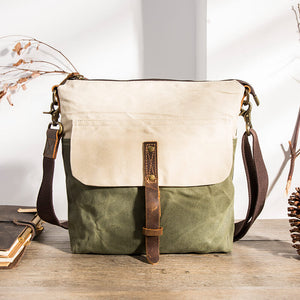 White and Green Handmade Canvas And Leather Crossbodybag, Mini Shoulder Bag, Cell Phone Bag BM186