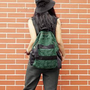 Handmade Cotton Backpack, Women Linen Bag, School Rucksack S017 - echopurse