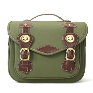 Handmade DSLR Camera Bag, Leather And Canvas Professional Camera Bag 1302 Green - echopurse