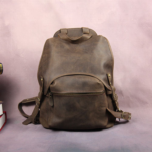 3f51787c509 ... Handmade Leather Backpack, Vintage Coffee Waxed Leather School Bags  RL271 newest a2206 fbc78 ...