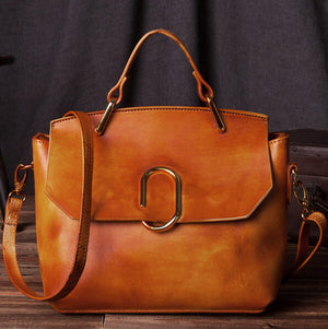 Handmade Leather Purse, Women's Fashion Handbag, Vintage Brown Small Satchel C205 - echopurse