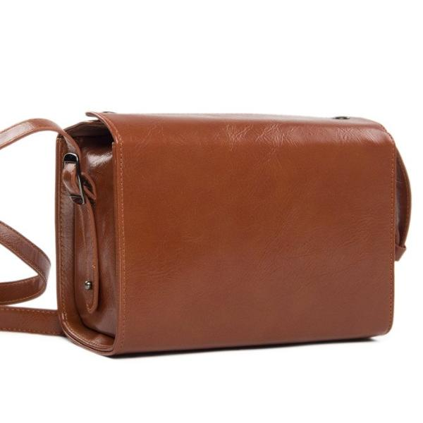 Handmade PU Leather Mirrorless DSLR Camera Bag, Brown SLR Camera Case 189 - echopurse